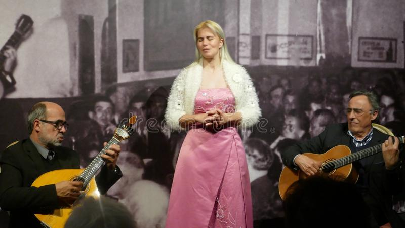 Tavira, Portugal, March 16, 2018 - Fado concert with a young singer and two musicians in the theater `Fado com Historia` royalty free stock photos