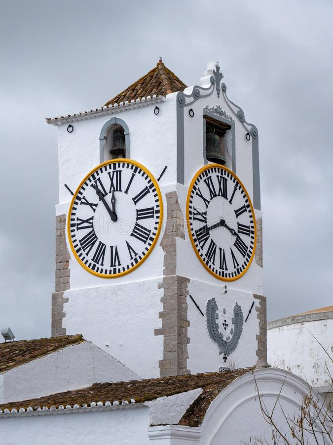 TAVIRA, SOUTHERN ALGARVE/PORTUGAL - MARCH 8 : Santa Maria do Castelo Church tower in Tavira Portugal on March 8, 2018 stock image