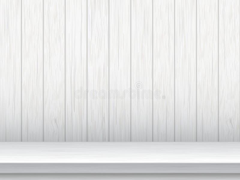 Tavola bianca e fondo di legno delle plance illustrazione vettoriale