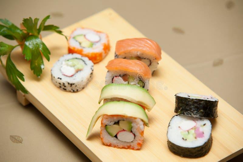 Tavola dei sushi fotografie stock