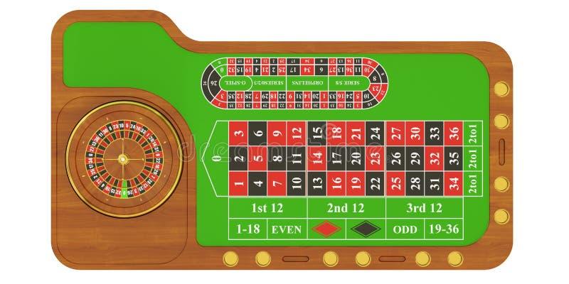 Tavola del casinò con le roulette, rappresentazione 3D illustrazione di stock