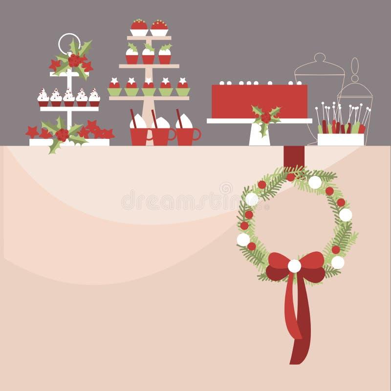 Tavola del dessert di Natale Tabella dolce illustrazione di stock