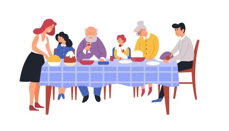 Tavola del pasto della cena della famiglia e piatti festivi cucina o sala da pranzo royalty illustrazione gratis