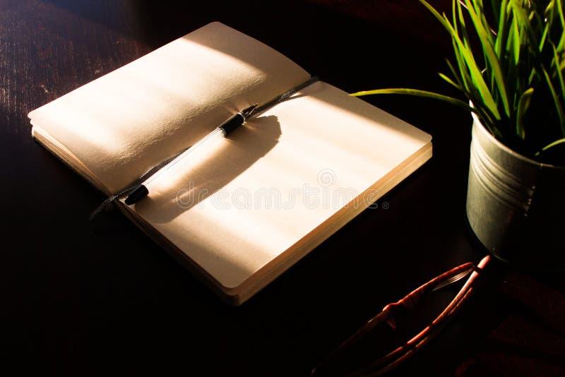 Tavola dell'ufficio di vista superiore, tavola con un taccuino aperto, un album, vetri, una pianta verde Colori saturati luminosi fotografie stock