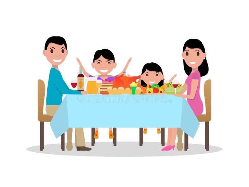 Tavola di cena festiva della famiglia felice del fumetto di vettore royalty illustrazione gratis