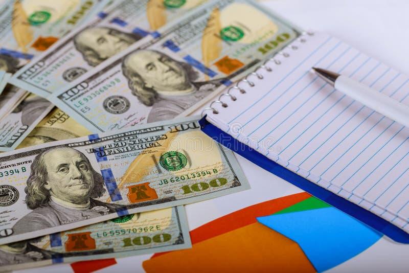 Tavola di funzionamento di affari con il dollaro americano in ufficio Finanze di affari e concetto di contabilità immagini stock
