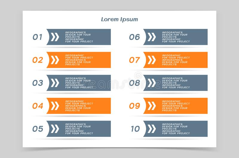 Tavola di Infographic o progettazione dell'insegna di web con i punti numerati royalty illustrazione gratis