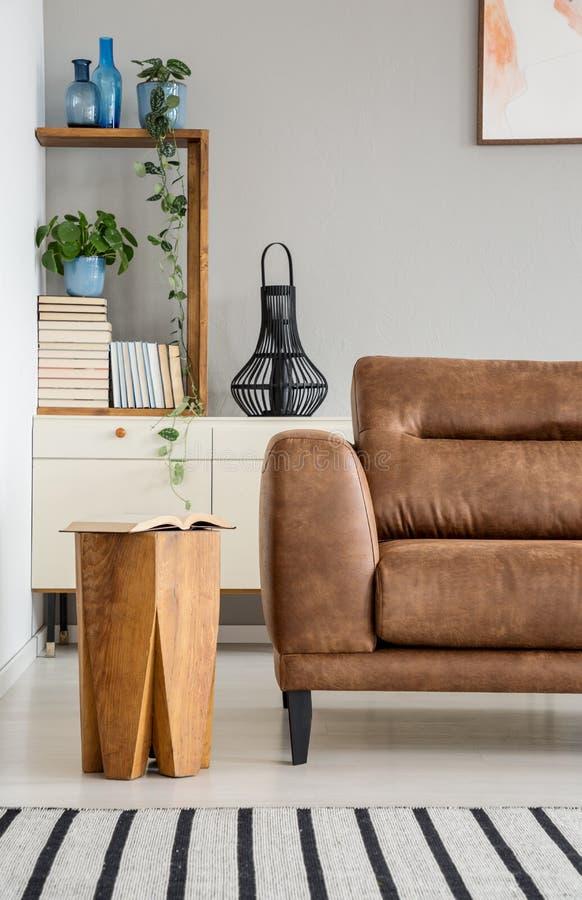 Tavola di legno accanto allo strato marrone nell'interno del salone con le piante e la coperta a strisce Foto reale fotografia stock libera da diritti