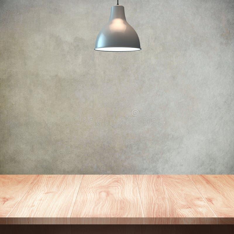 Tavola di legno con il fondo della parete e della lampada fotografia stock