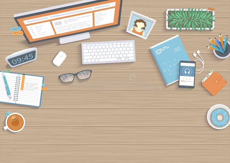 Tavola di legno con il monitor, libro, taccuino Vista superiore del fondo da tavolino dell'area di lavoro del posto di lavoro illustrazione vettoriale