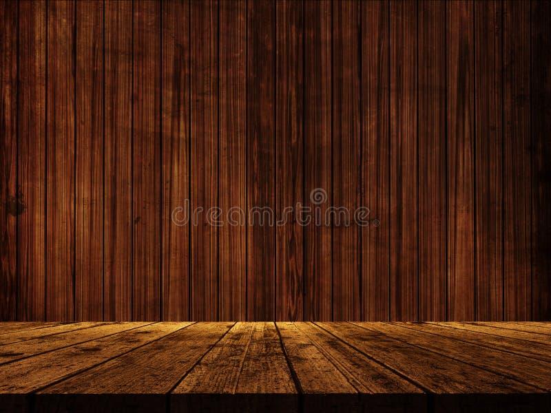 tavola di legno 3D contro una struttura di legno della parete illustrazione di stock