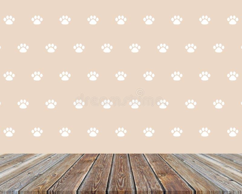 Tavola di legno dei bordi anziani sui precedenti con le tracce di zampe, di cucciolo o di gattino dell'animale domestico illustrazione vettoriale