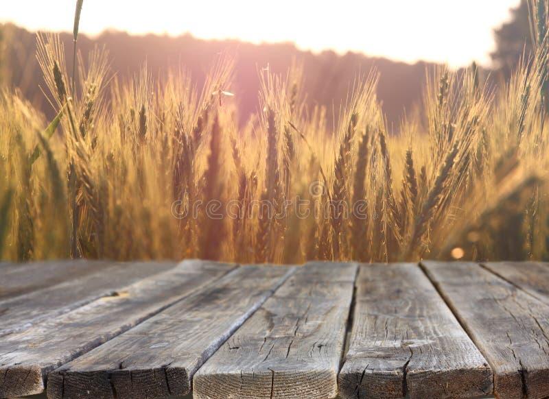 Tavola di legno del bordo davanti al campo di grano sulla luce di tramonto Aspetti per i montaggi dell'esposizione del prodotto fotografie stock