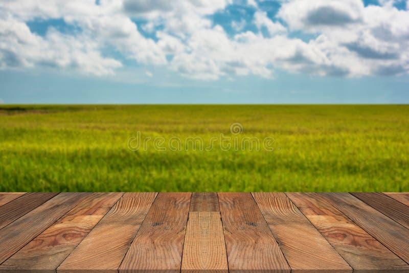 Tavola di legno di Brown e risaia confusa nel fondo fotografia stock