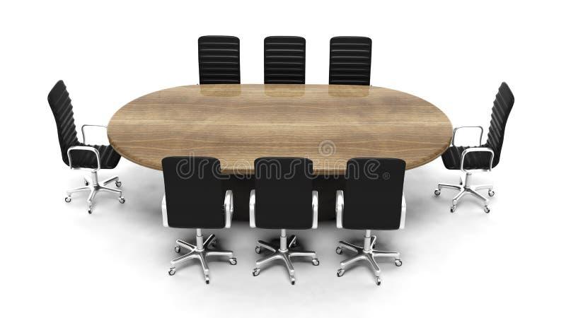 Tavola di legno ovale della sala riunioni illustrazione vettoriale