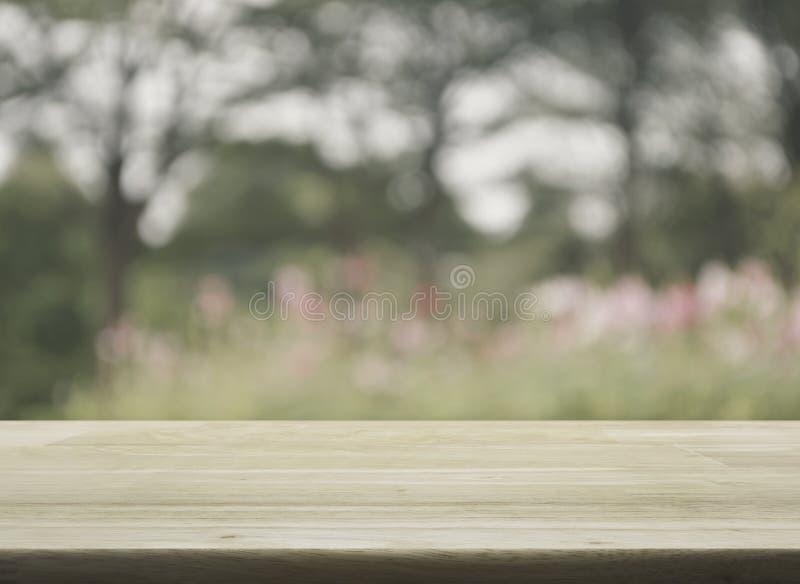Tavola di legno vuota con il fiore e l'albero rosa vaghi, fotografie stock