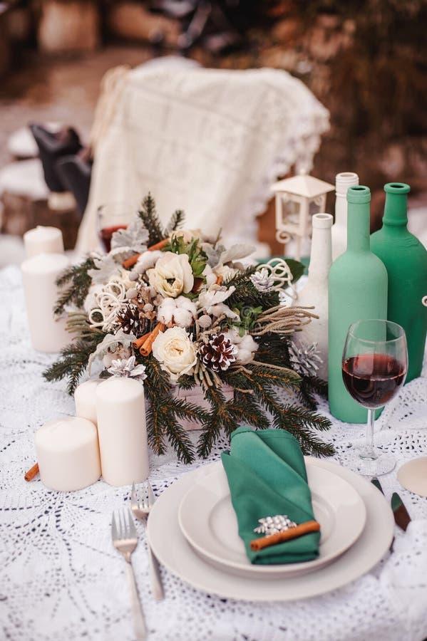 Tavola di nozze di inverno immagine stock