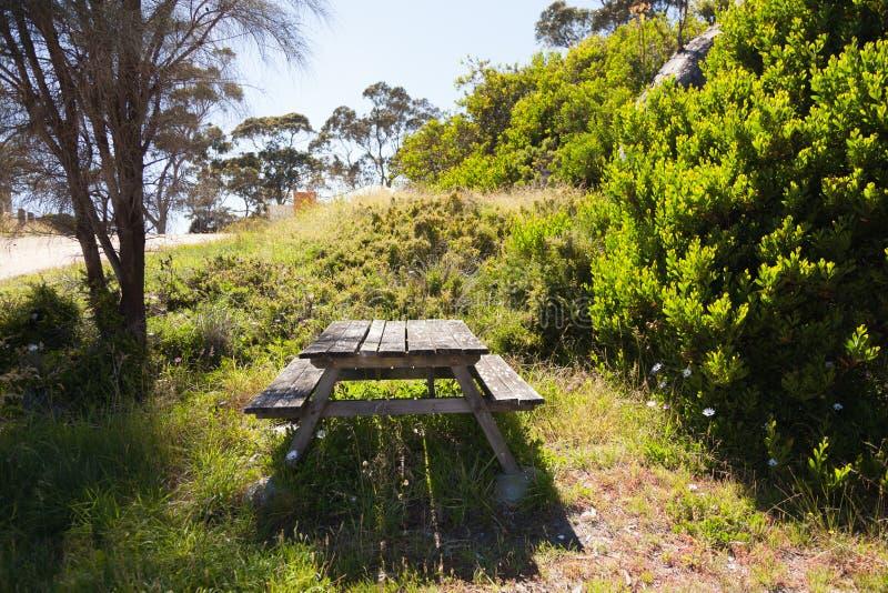 Tavola di picnic alla luce solare fotografia stock