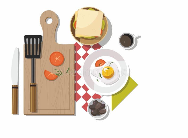 Tavola di prima colazione con gli ingredienti saporiti sani su fondo bianco illustrazione di stock