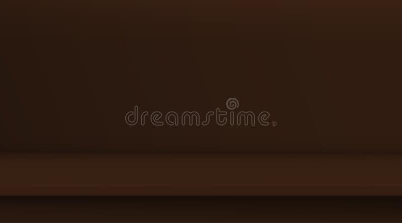 Tavola di vettore della maglia di pendenza Il fondo della tavola di colore marrone scura viva vuota, stanza dello studio annuncia illustrazione di stock