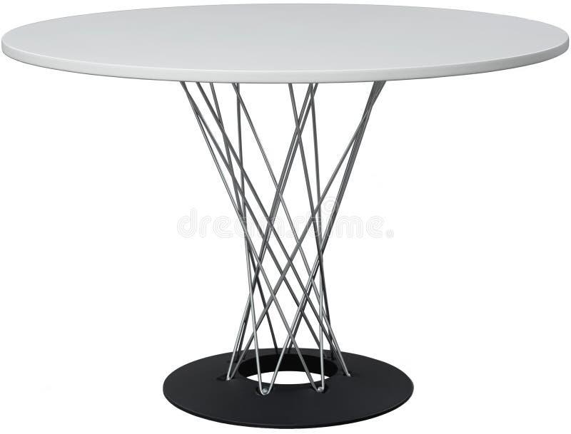 Tavola dinning bianca rotonda Progettista moderno, tavola isolata su fondo bianco Serie di mobilia fotografia stock libera da diritti