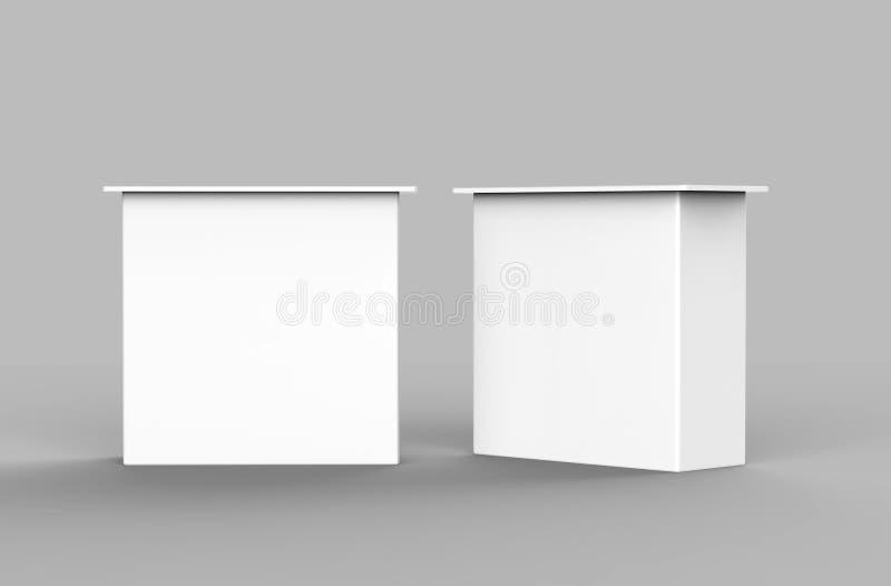 Tavola diritta promozionale della mostra in bianco bianca contro che annuncia la cabina del PVC di posizione probabilità di inter royalty illustrazione gratis