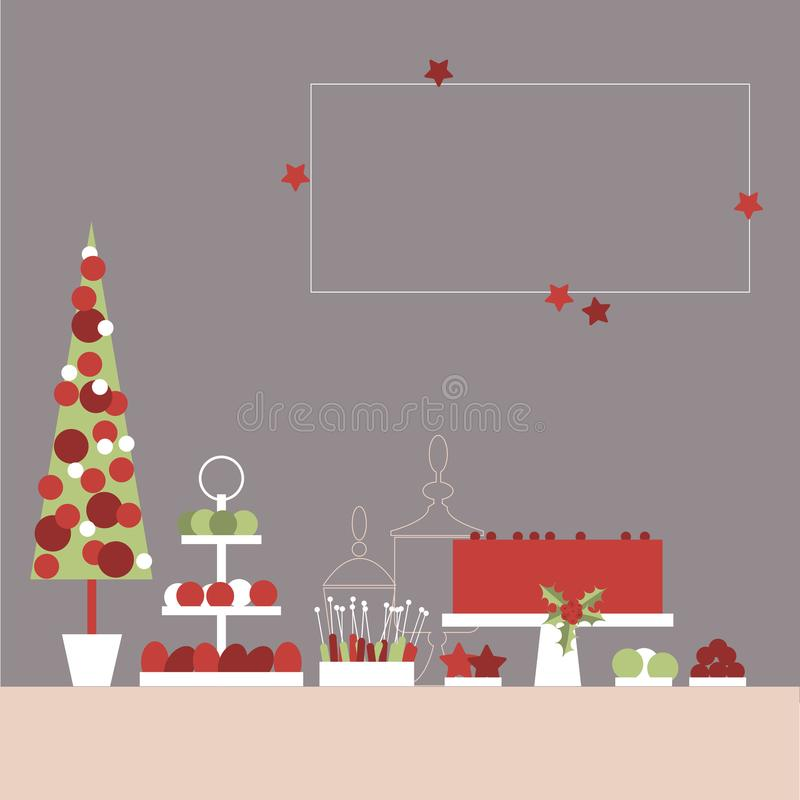 Tavola dolce di Natale con il dolce ed i dolci Buffet di Candy Vettore royalty illustrazione gratis