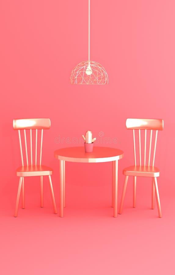 Tavola dorata, due sedie ed interno d'avanguardia del candeliere alla moda sull'illustrazione rosa del fondo 3D illustrazione di stock