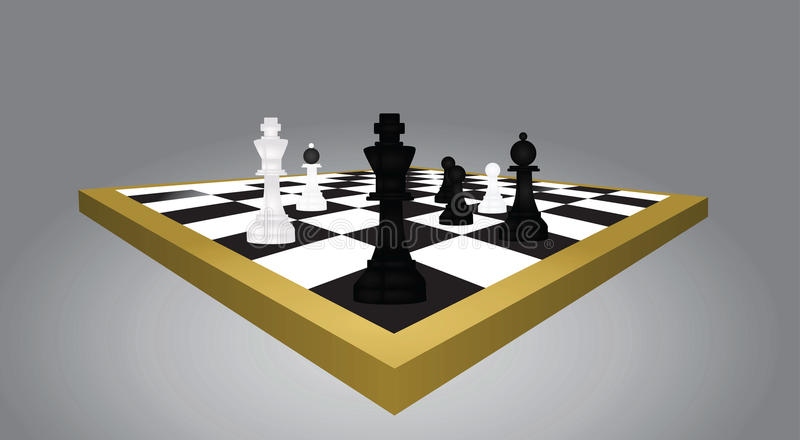 Tavola e figure di scacchi illustrazione di stock