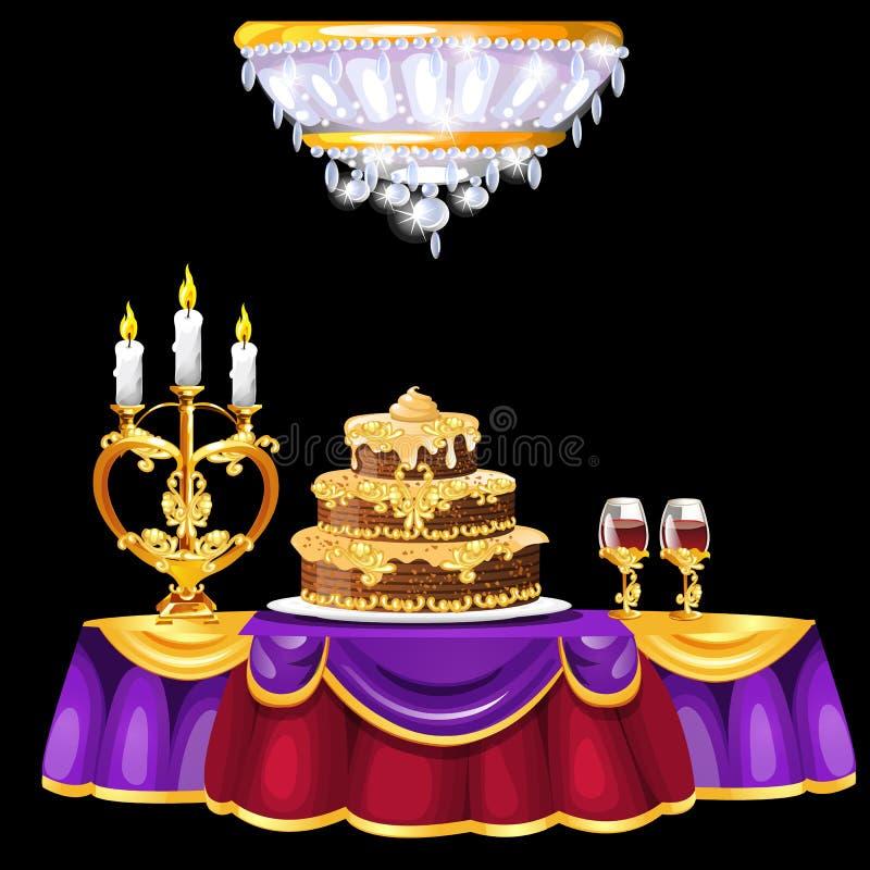 Tavola festiva con con un dolce lussuoso, i bicchieri di vino ed il candeliere dorato Interno d'annata della sala da pranzo royalty illustrazione gratis