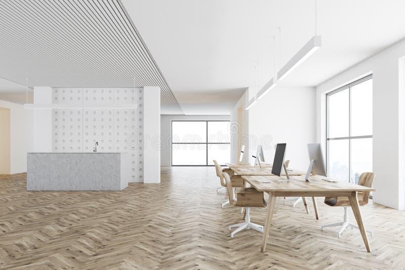 Tavola grigia di ricezione in un lato dell'ufficio dello spazio aperto illustrazione vettoriale