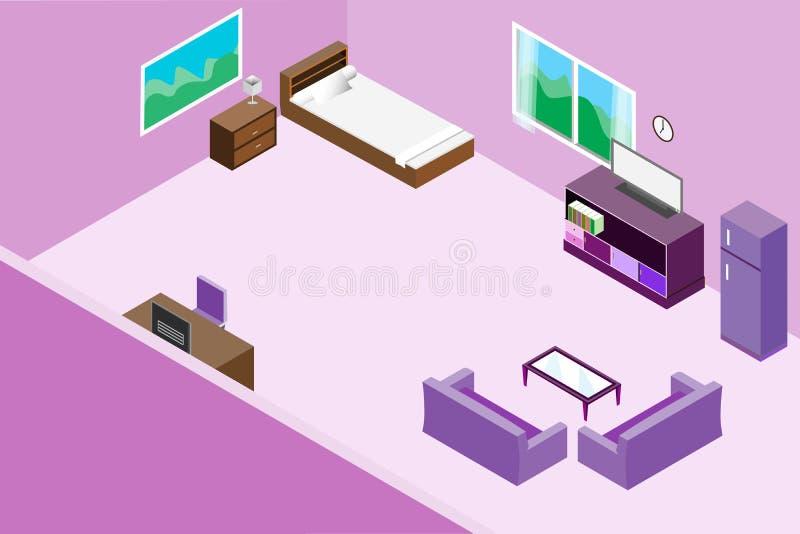 Tavola interna e di legno della camera da letto moderna del salone, illustrazione di vettore di progettazione del sofà tono isome illustrazione di stock