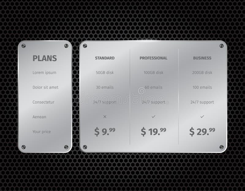 Tavola moderna d'argento di valutazione con su buio illustrazione di stock