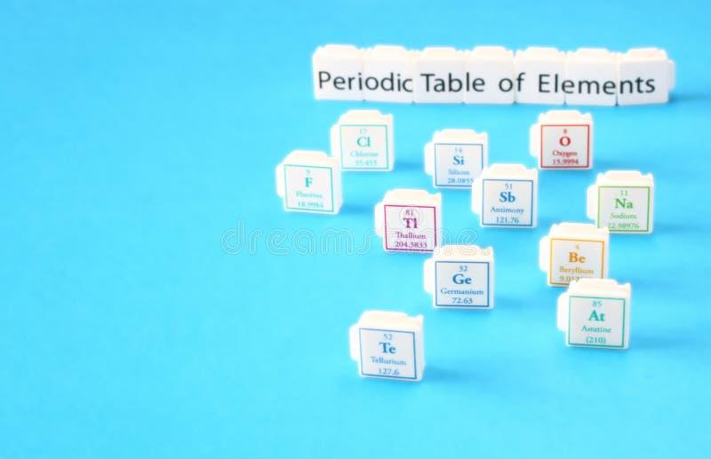 Tavola periodica degli elementi. Fuoco selettivo. concetto di istruzione di scienza immagine stock libera da diritti