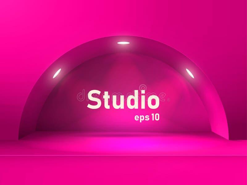 Tavola rosa vuota dello studio con un arco e una cavità illuminati dalle lanterne Spazio libero per la presentazione del prodotto illustrazione vettoriale