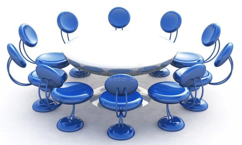 Tavola rotonda e presidenze blu illustrazione di stock