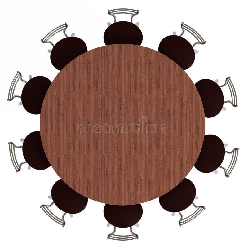 Tavola rotonda e presidenze, vista superiore, isolata illustrazione di stock