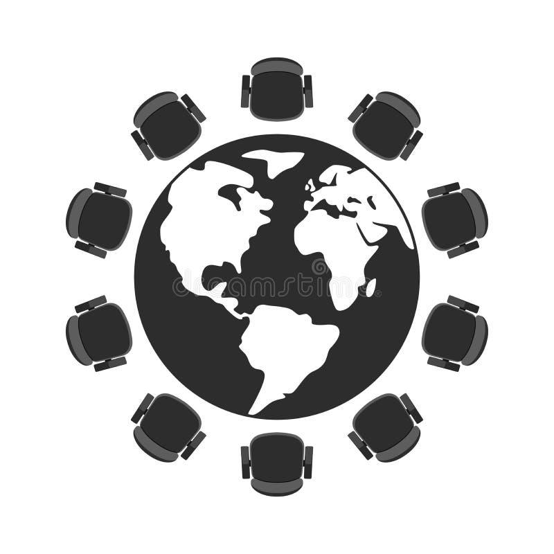 Tavola rotonda e sedie di vettore illustrazione di stock