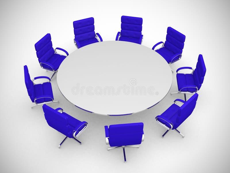 Tavola rotonda e sedie isolate su fondo bianco royalty illustrazione gratis