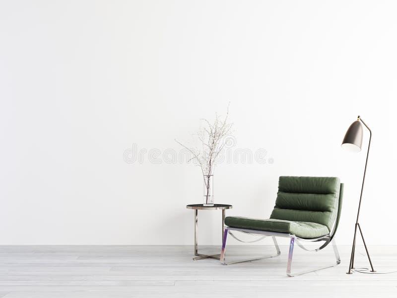 Tavola verde del metallo e della poltrona sulla parete vuota nell'interno semplice del salone illustrazione vettoriale