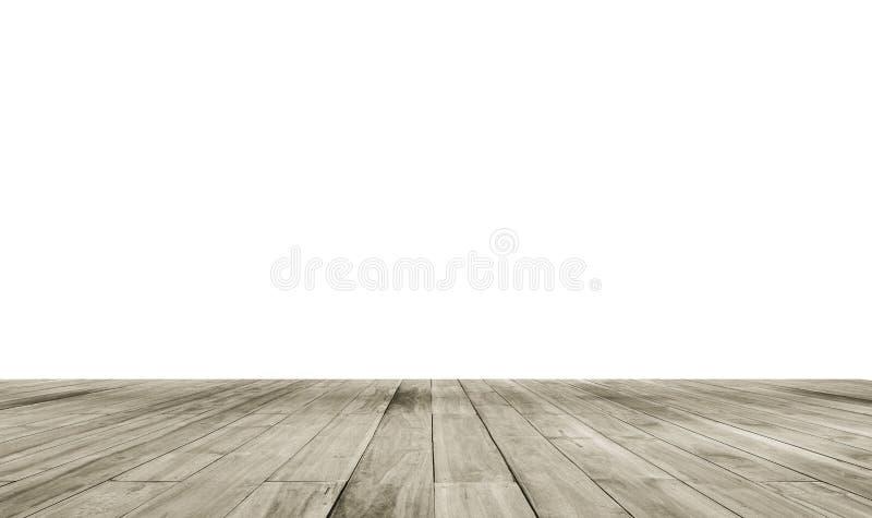 Tavola vuota del bordo di legno davanti al fondo di bianco dell'isolato Legno marrone di prospettiva sopra fondo bianco immagini stock libere da diritti