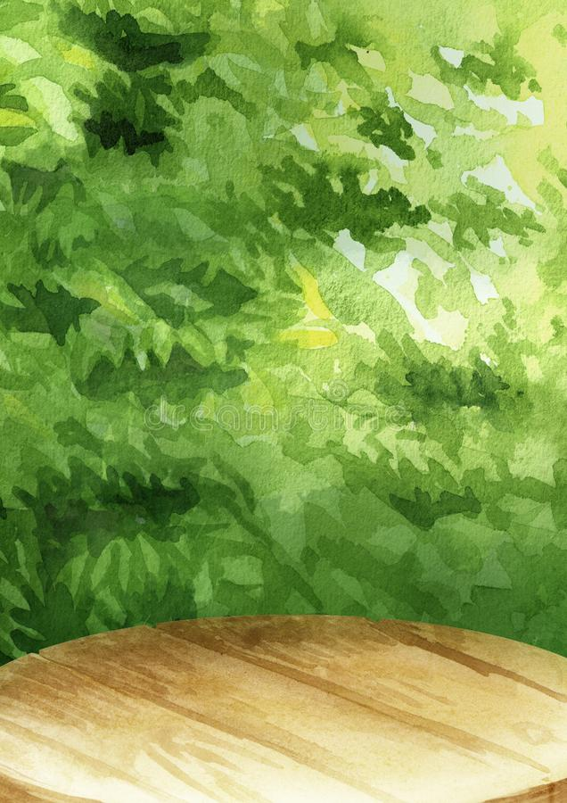 Tavola vuota per il vostro prodotto con lo sfondo naturale delle foglie verdi, illustrazione verticale disegnata a mano dell'acqu illustrazione di stock