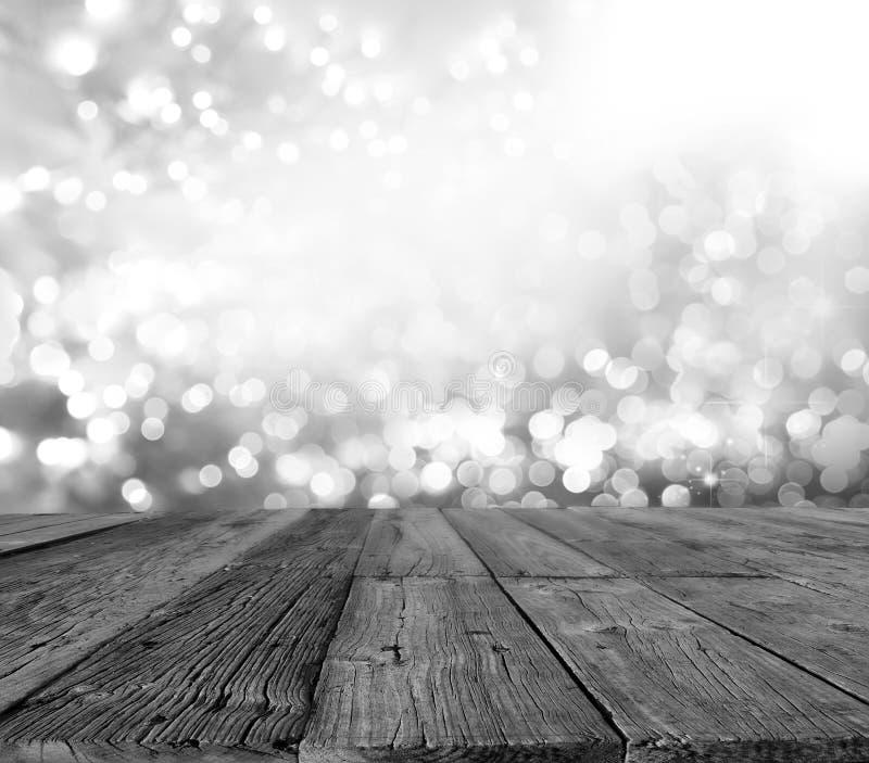 Tavole di pavimento e bokeh fotografia stock libera da diritti