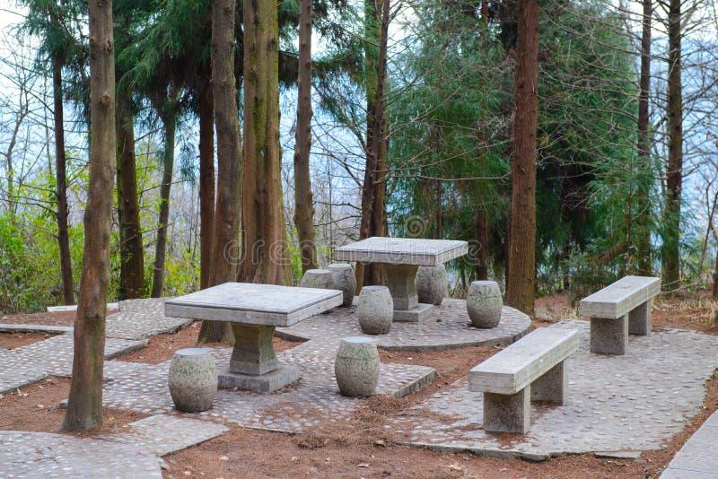 Tavole e banchi di pietra di picnic fotografie stock