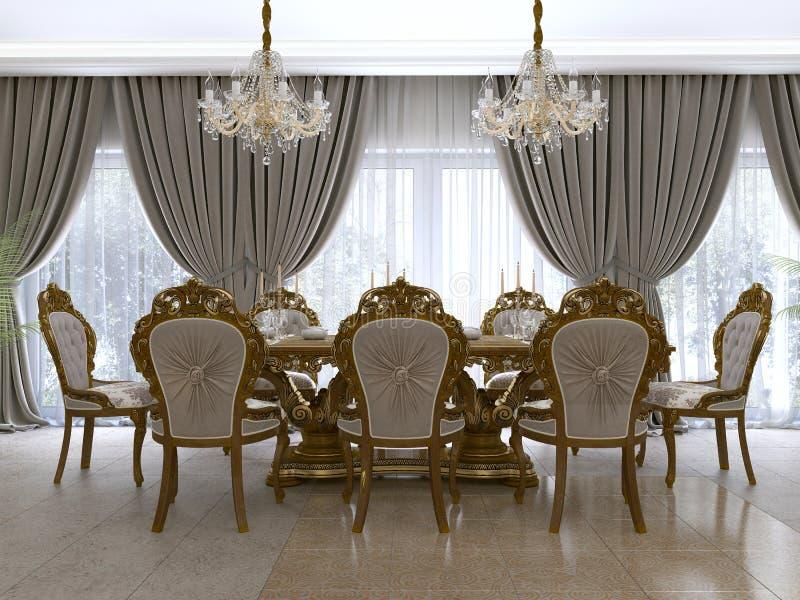 Tavolo da pranzo classico moderno in un salone barrocco lussuoso con il servizio royalty illustrazione gratis