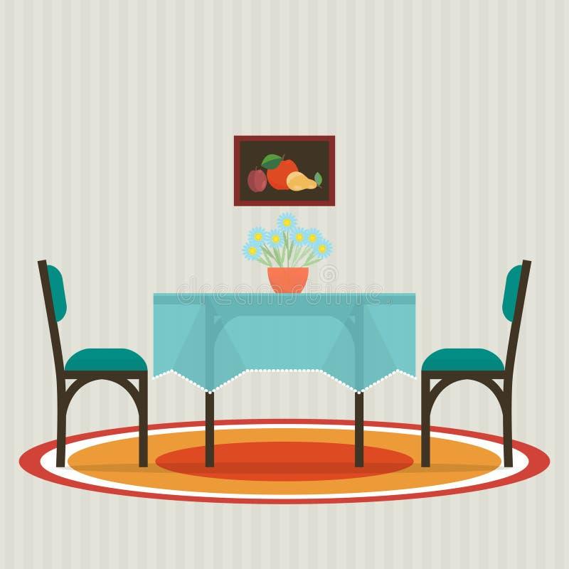 Tavolo da pranzo con i fiori e le sedie illustrazione for Tavolo da pranzo con sedie