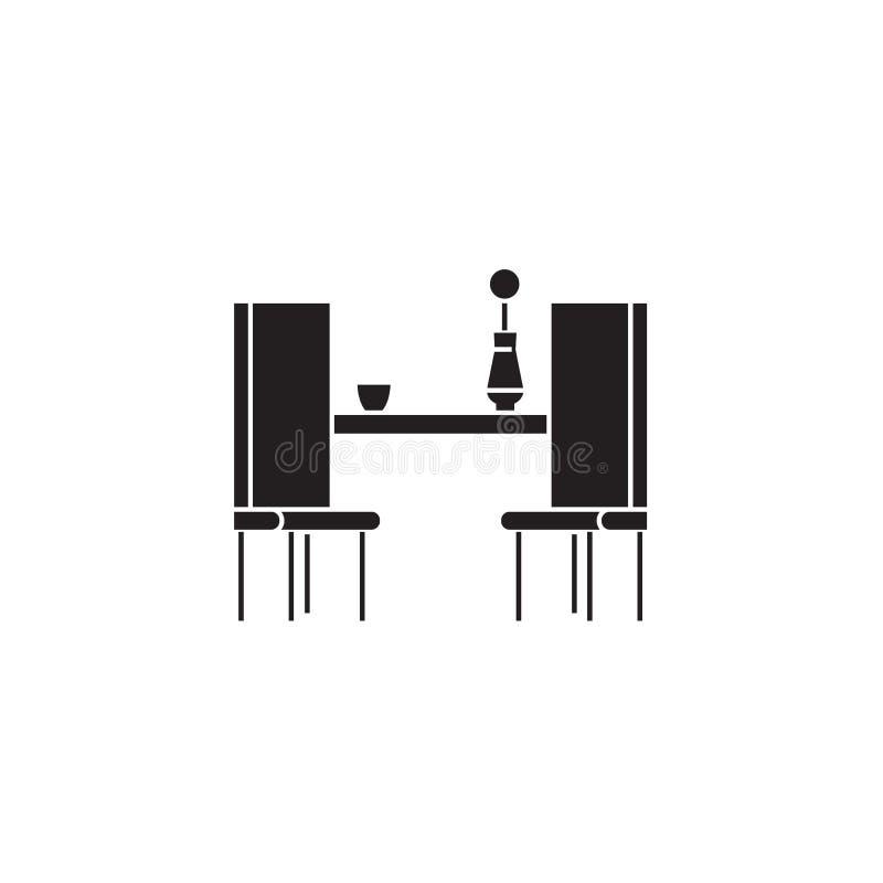 Tavolo da pranzo con l'icona nera di concetto di vettore di due sedie Tavolo da pranzo con un'illustrazione piana di due sedie, s royalty illustrazione gratis