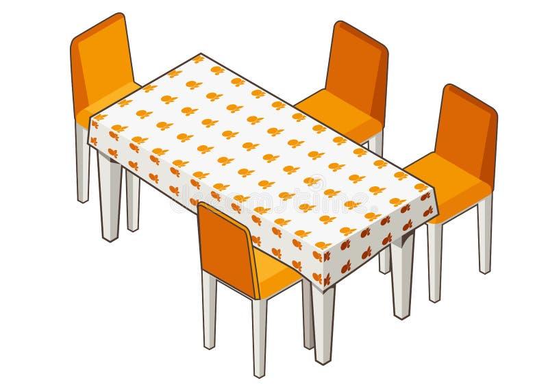 Tavolo da pranzo con la tovaglia e le sedie fiorite royalty illustrazione gratis