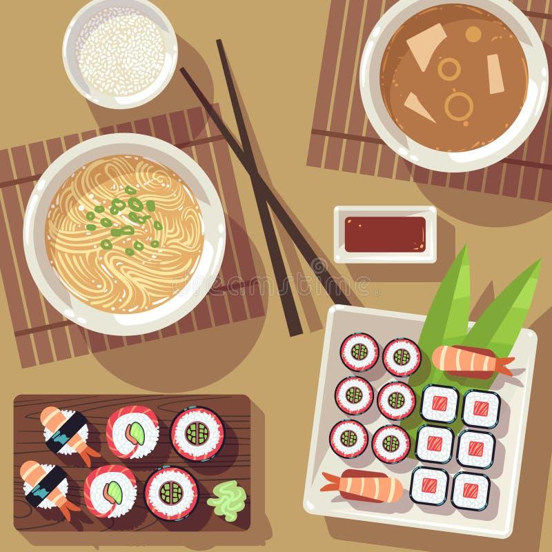 Tavolo da pranzo con la vista superiore dell'alimento giapponese illustrazione di stock
