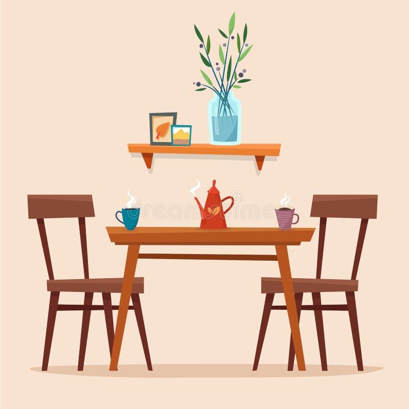 Tavolo da pranzo in cucina con le sedie royalty illustrazione gratis
